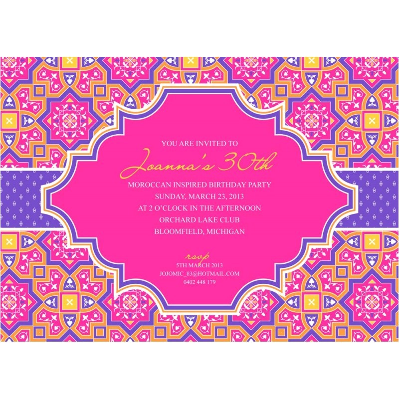 Moroccan Party Invitations Templates Moroccan Party Printable Invitation