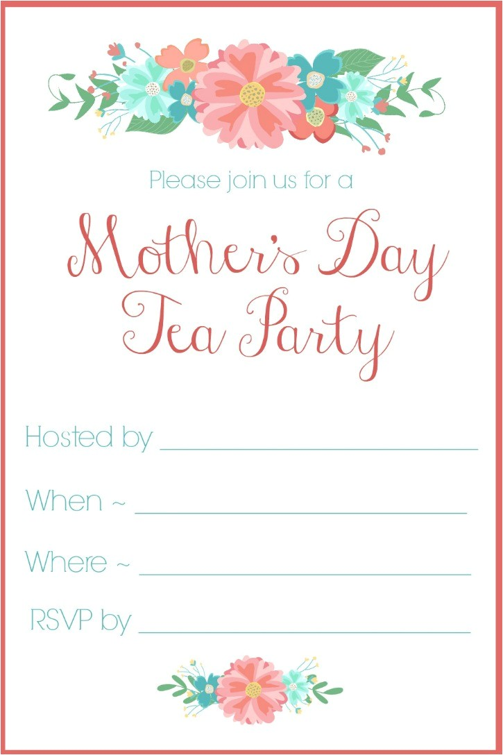 mothers day tea party invitation free printable