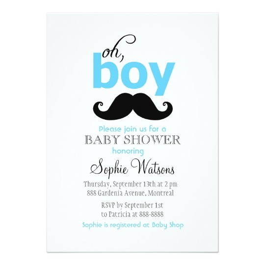 blue its a boy mustache baby shower invitations