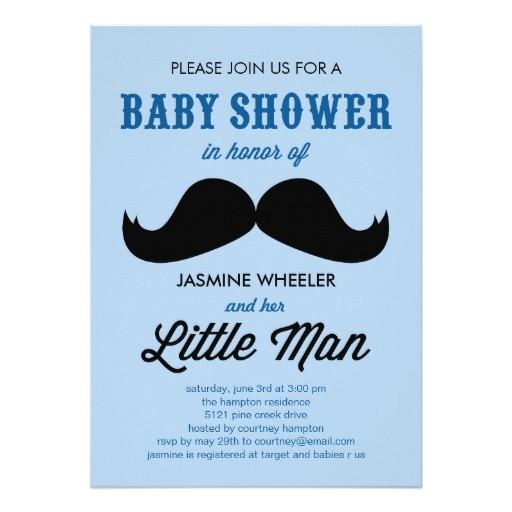 little mustache baby shower invitations