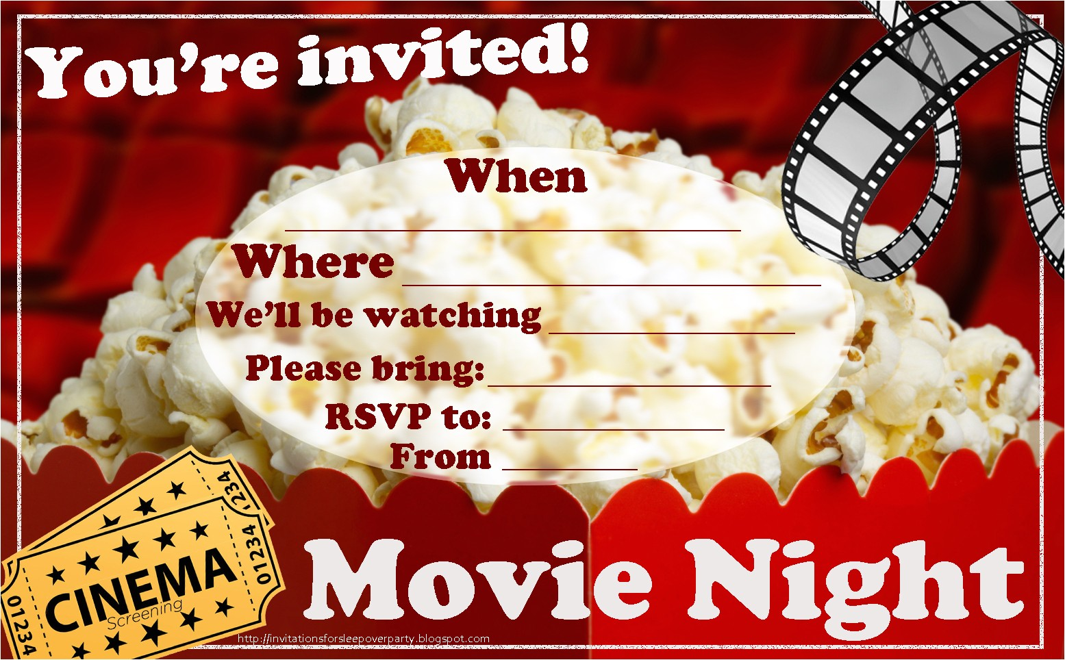 movie night invitation free printable