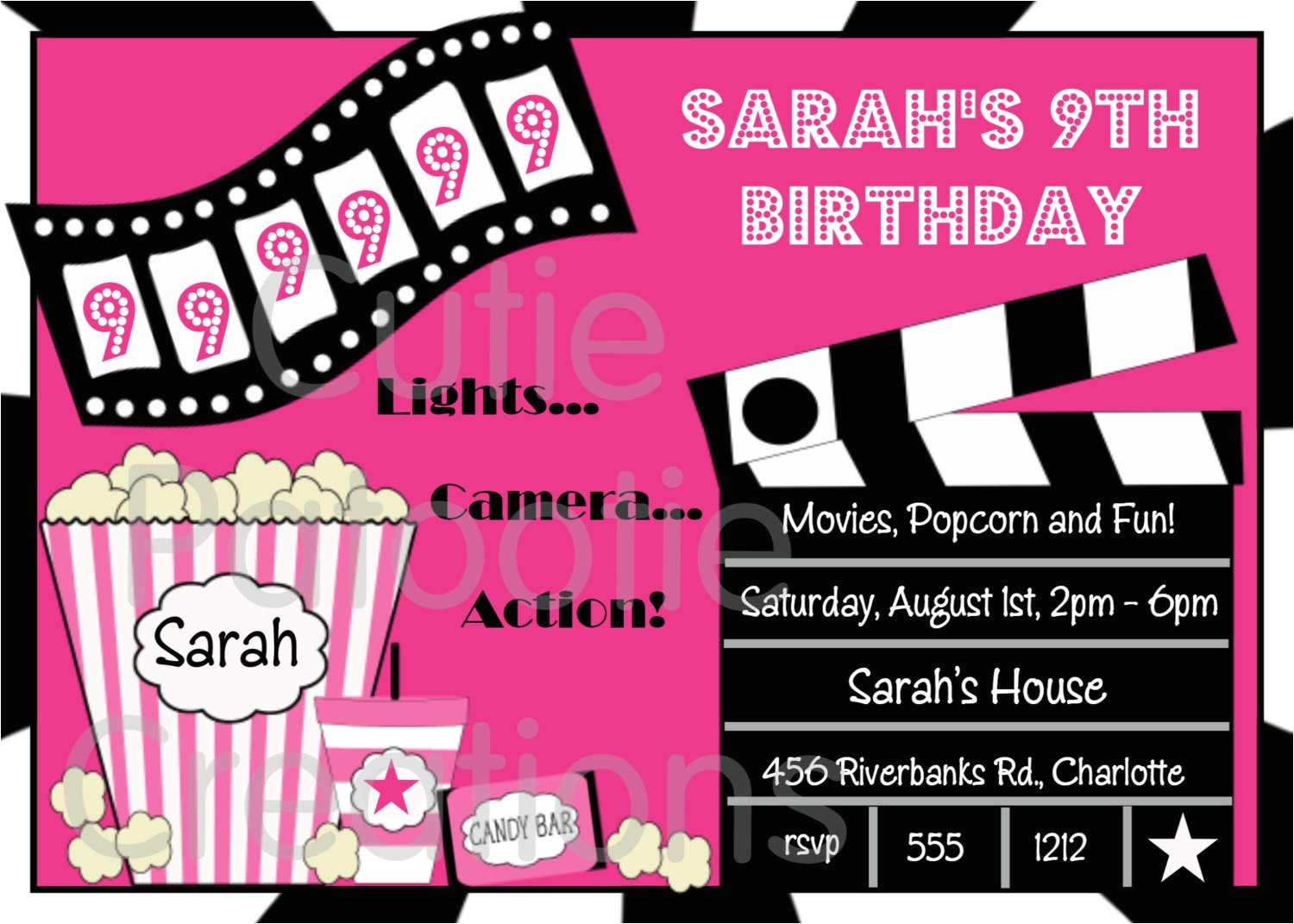 movie birthday invitation movie night