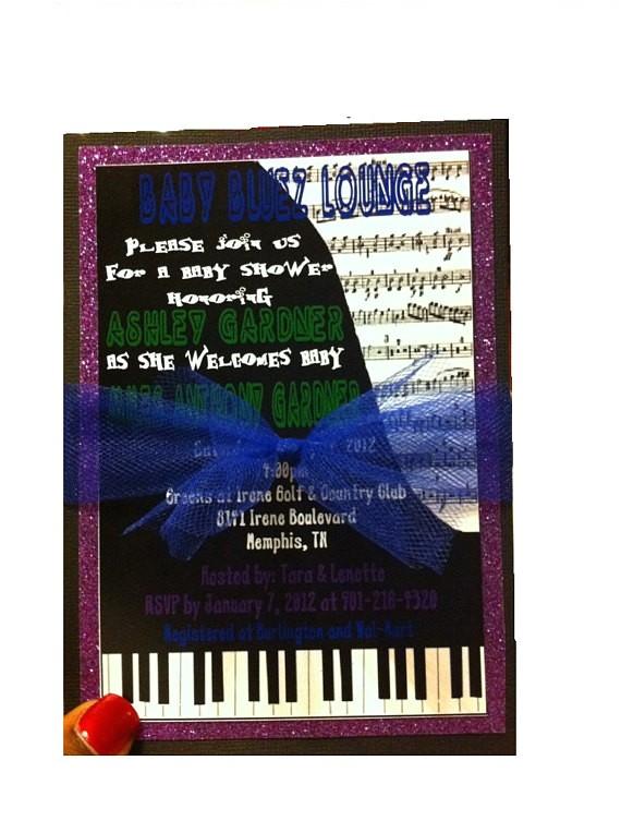 music theme baby shower invitation