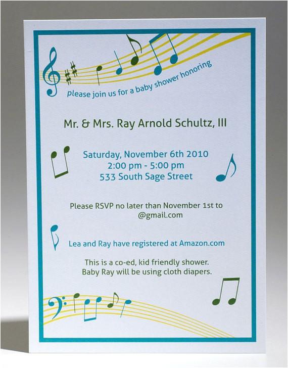 music themed baby shower invitation