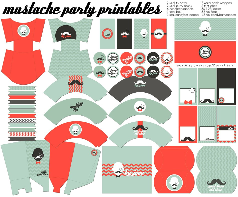 mustache birthday party printables pdf