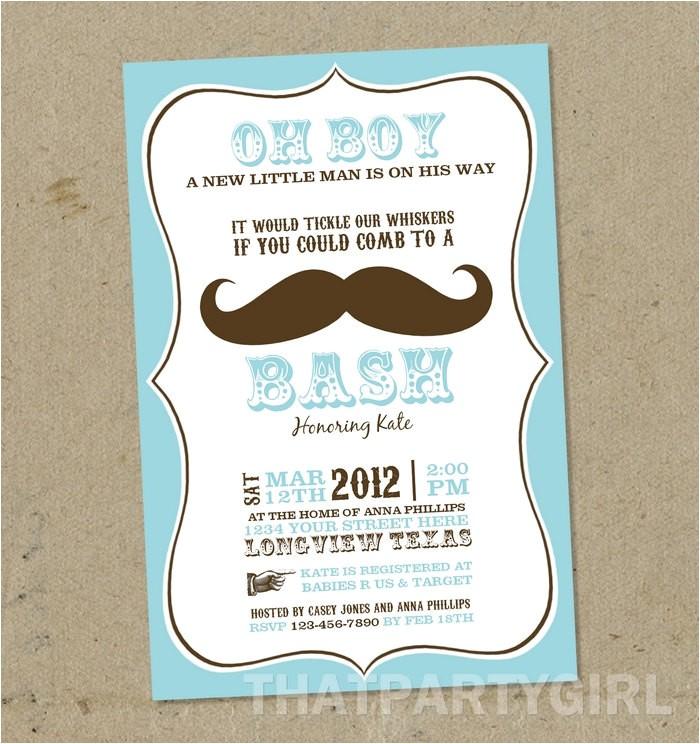mustache bash baby shower invitations