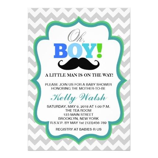 oh boy mustache baby shower invitations chevron