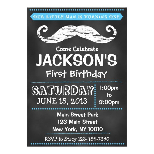 chalkboard mustache first birthday invitation
