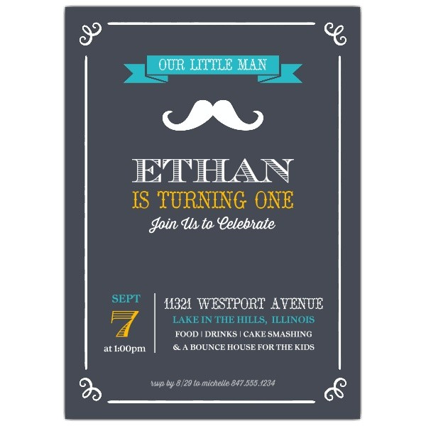 Little Man Mustache 1st Birthday Party Invitations p 638 57 196