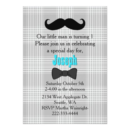 little man mustache first birthday invitation