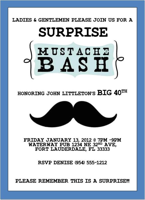 mustache bash invitation template 4x6