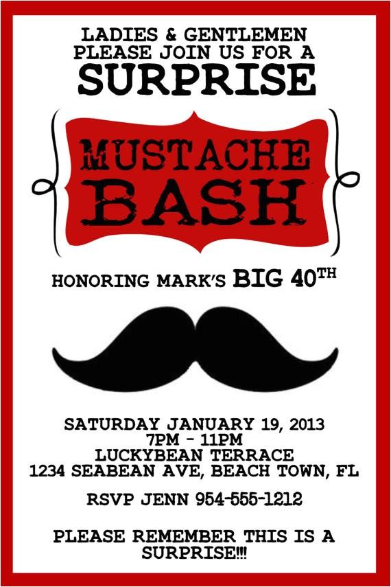 red mustache bash invitation template