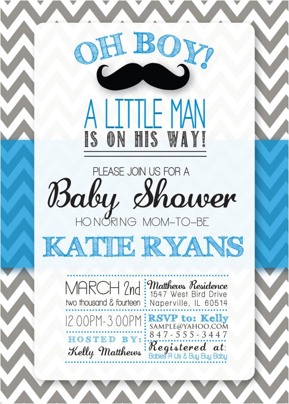 baby shower mustache themed invitation