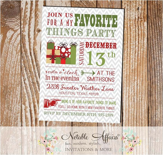 modern favorite party invitation gray chevron