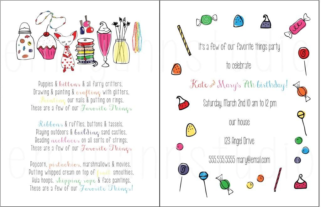 favorite things party custom design