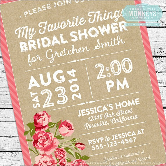my favorite things bridal shower