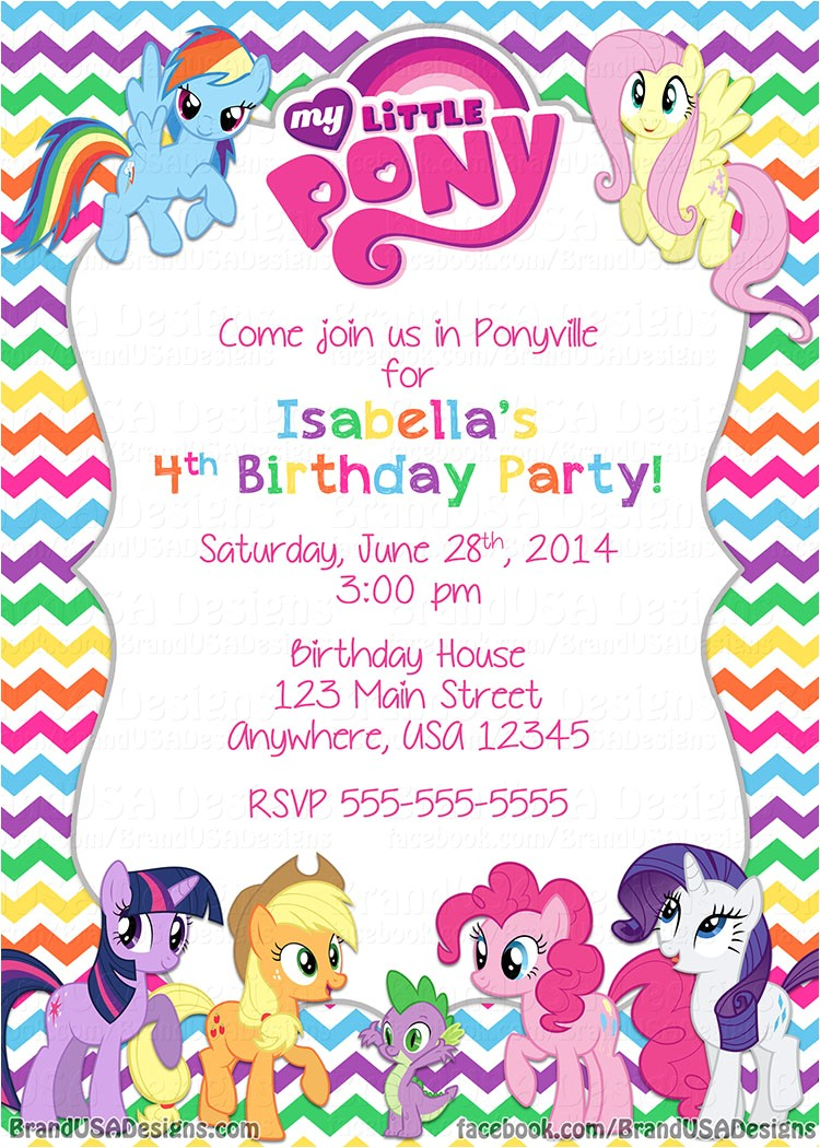 my little pony birthday invitations