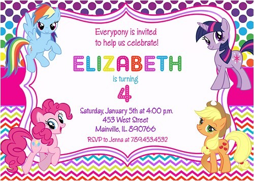 my little pony birthday party invitation digital printable