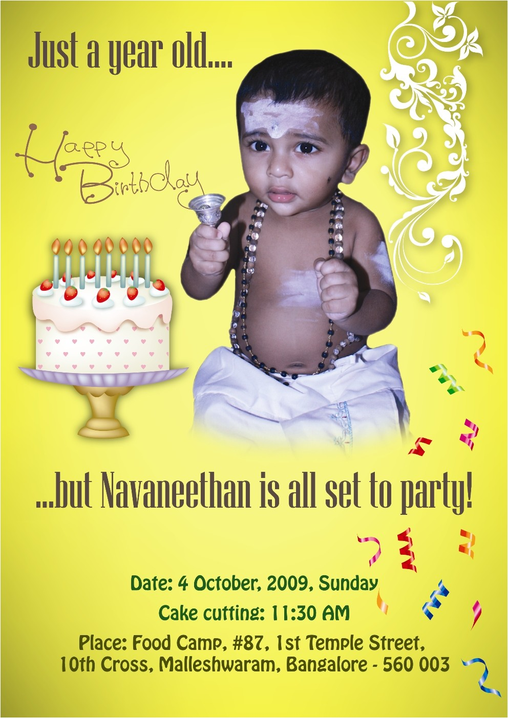My son First Birthday Invitation Invitation by Bhanu Shankar at Coroflot Com