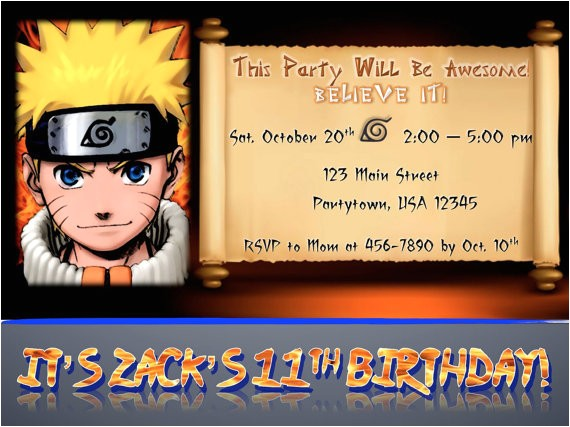 custom naruto birthday party invitation