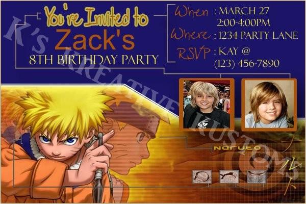 naruto custom birthday party invitation