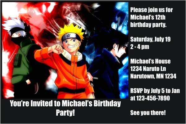 naruto invitations