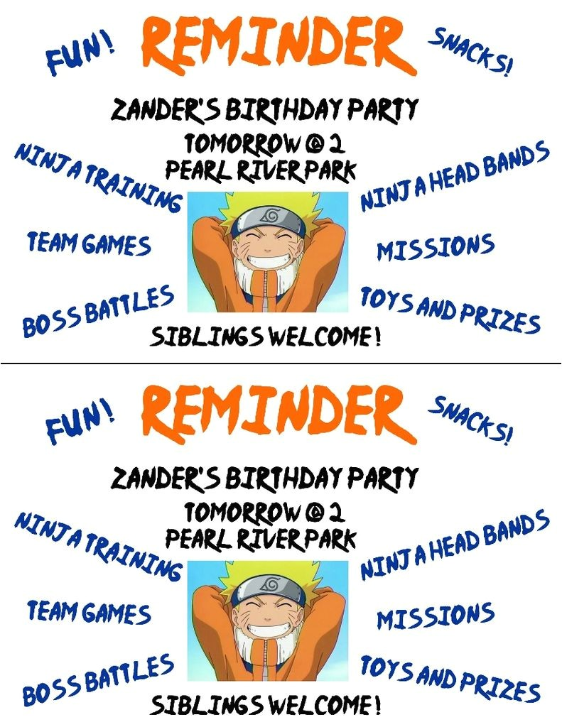 birthday invitation naruto theme