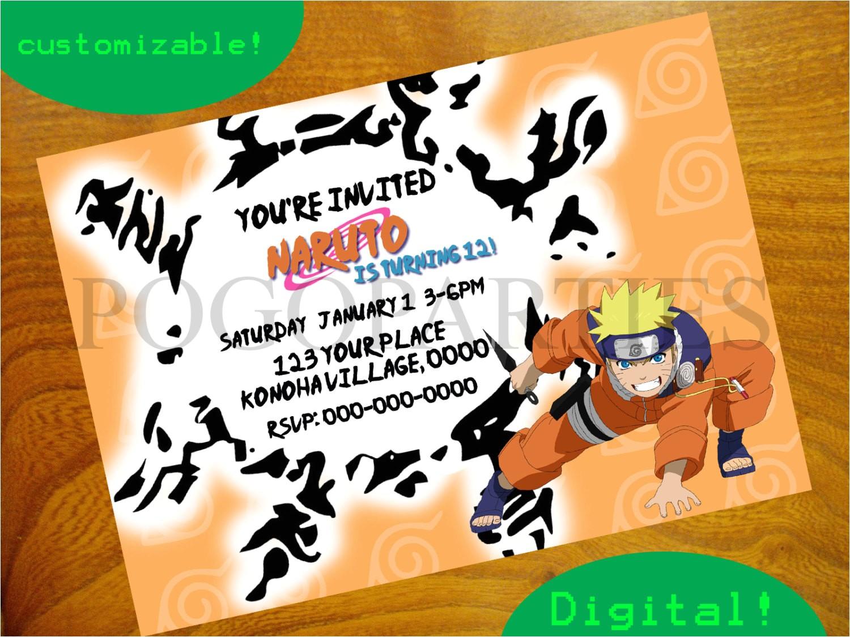 naruto birthday invitation