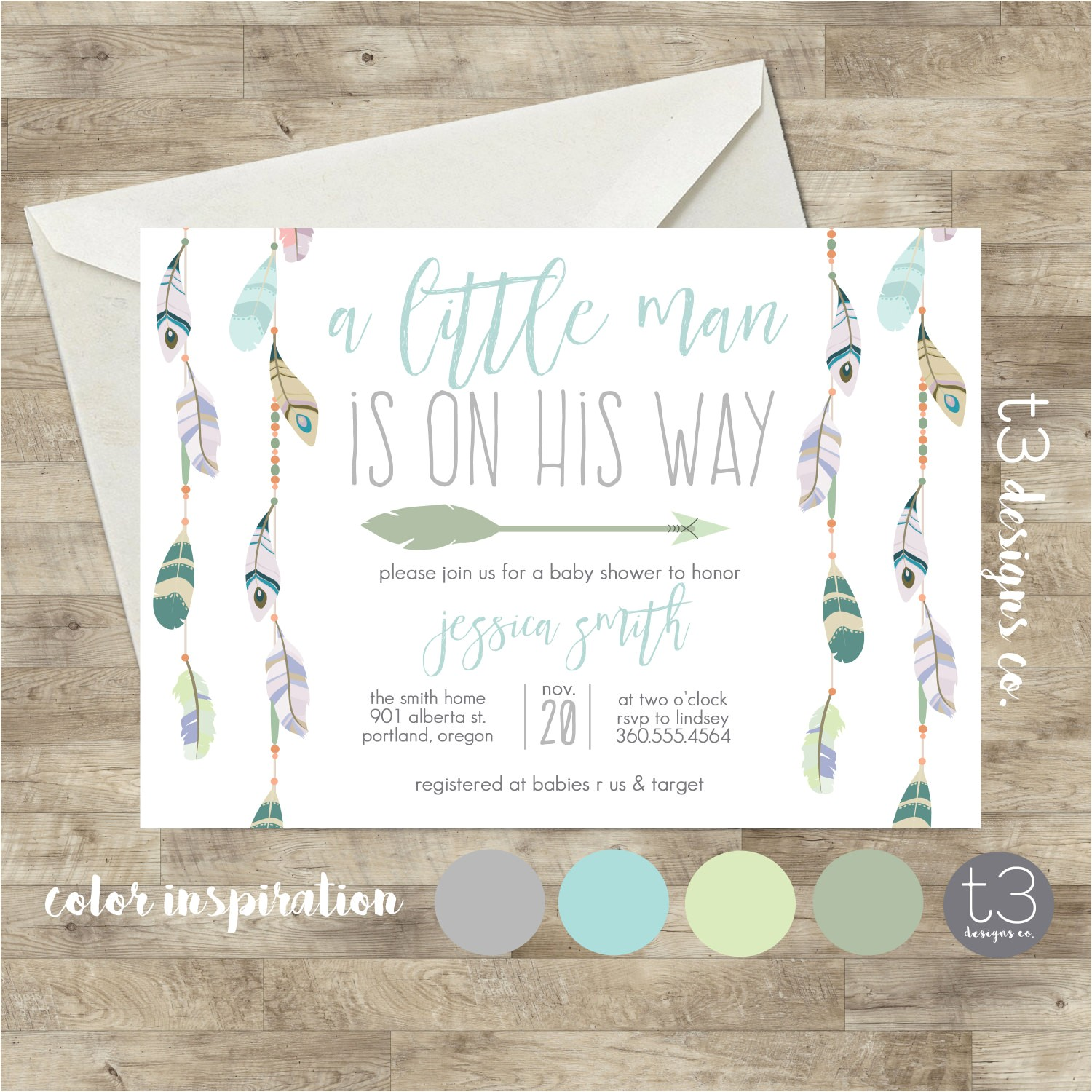 baby shower invitation boho baby shower