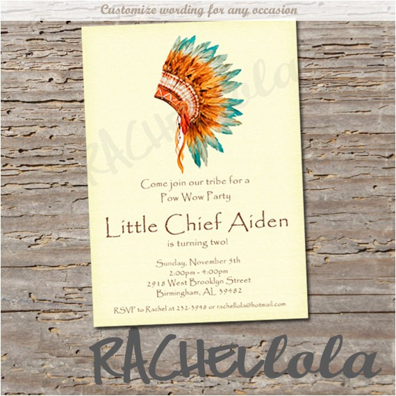 indian invitation digital print native american