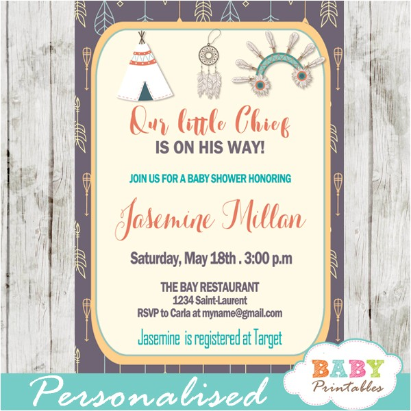 native american baby shower invitations tribal arrows pattern d241