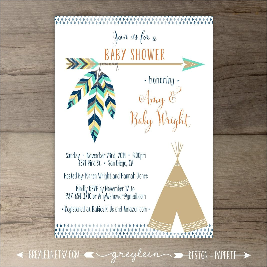 Native American Baby Shower Invitations Tribal Baby Shower Invitations • Birthday Pow Wow • Arrows