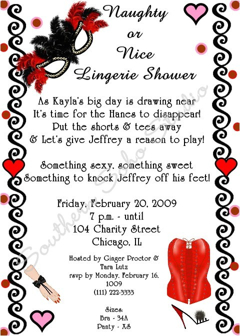 Naughty or Nice Bridal Shower Invitations Naughty or Nice Lingerie Bridal Shower Invitations Set Of 10
