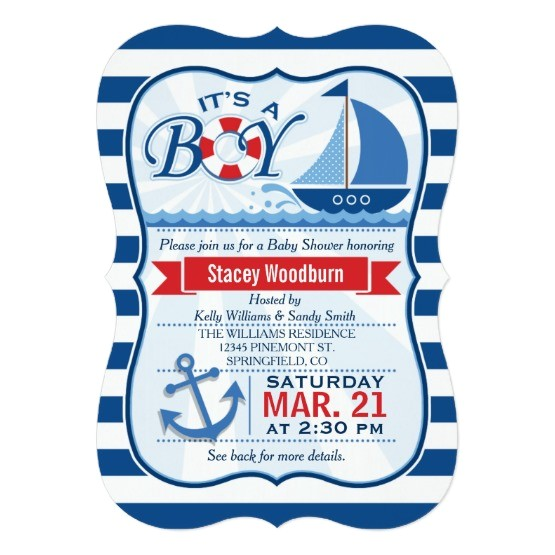 free nautical baby shower party invitations templates