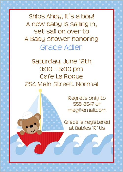 nautical baby shower invitation wording
