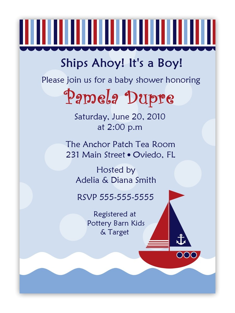 cheap nautical theme baby shower invitations templates