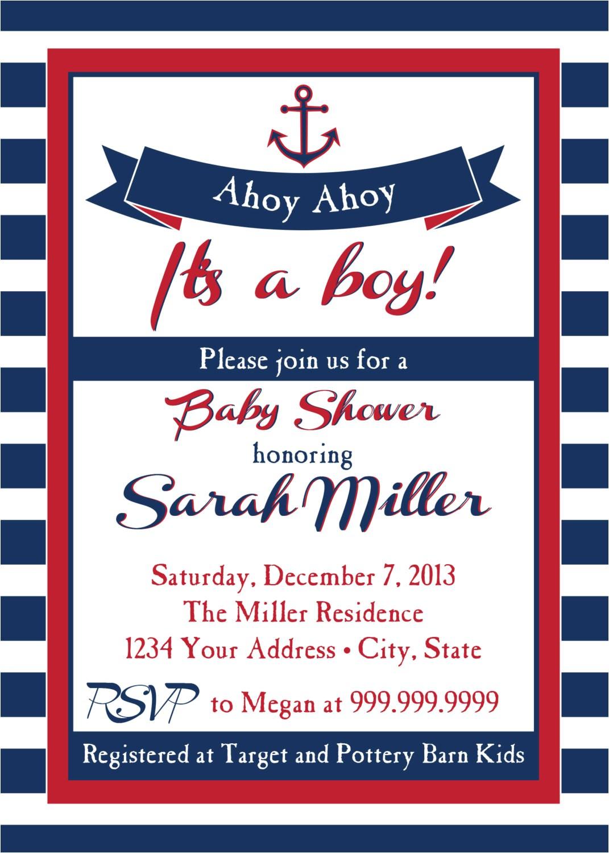 nautical baby shower invitation ahoy