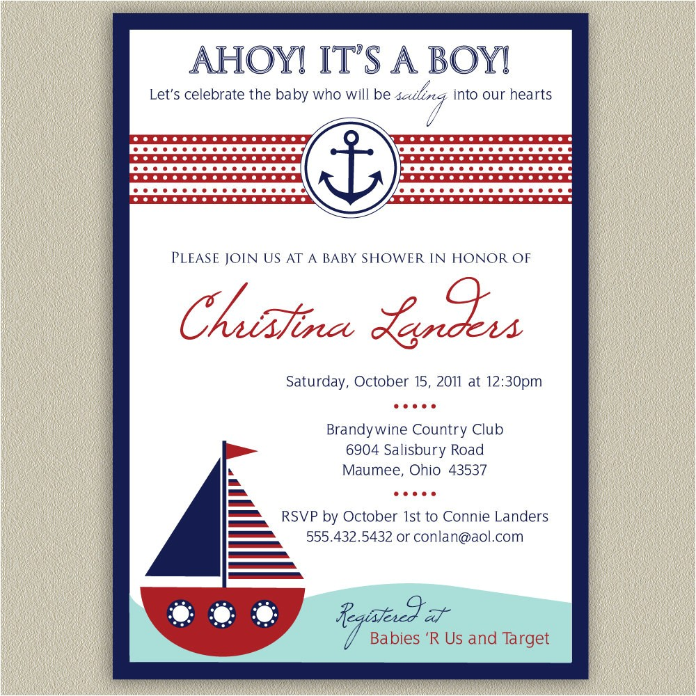 Nautical Baby Shower Invitations for Boys Ahoy It S A Boy Nautical Baby Shower Invitation by