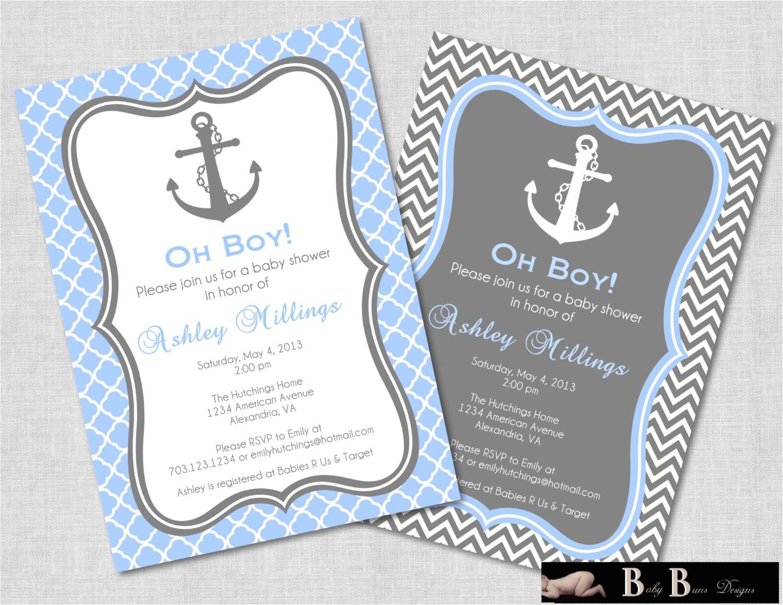nautical baby shower invitation boy gray