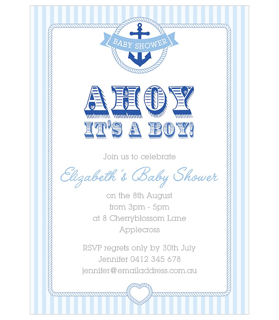 Nautical Baby Shower Invitation Boys