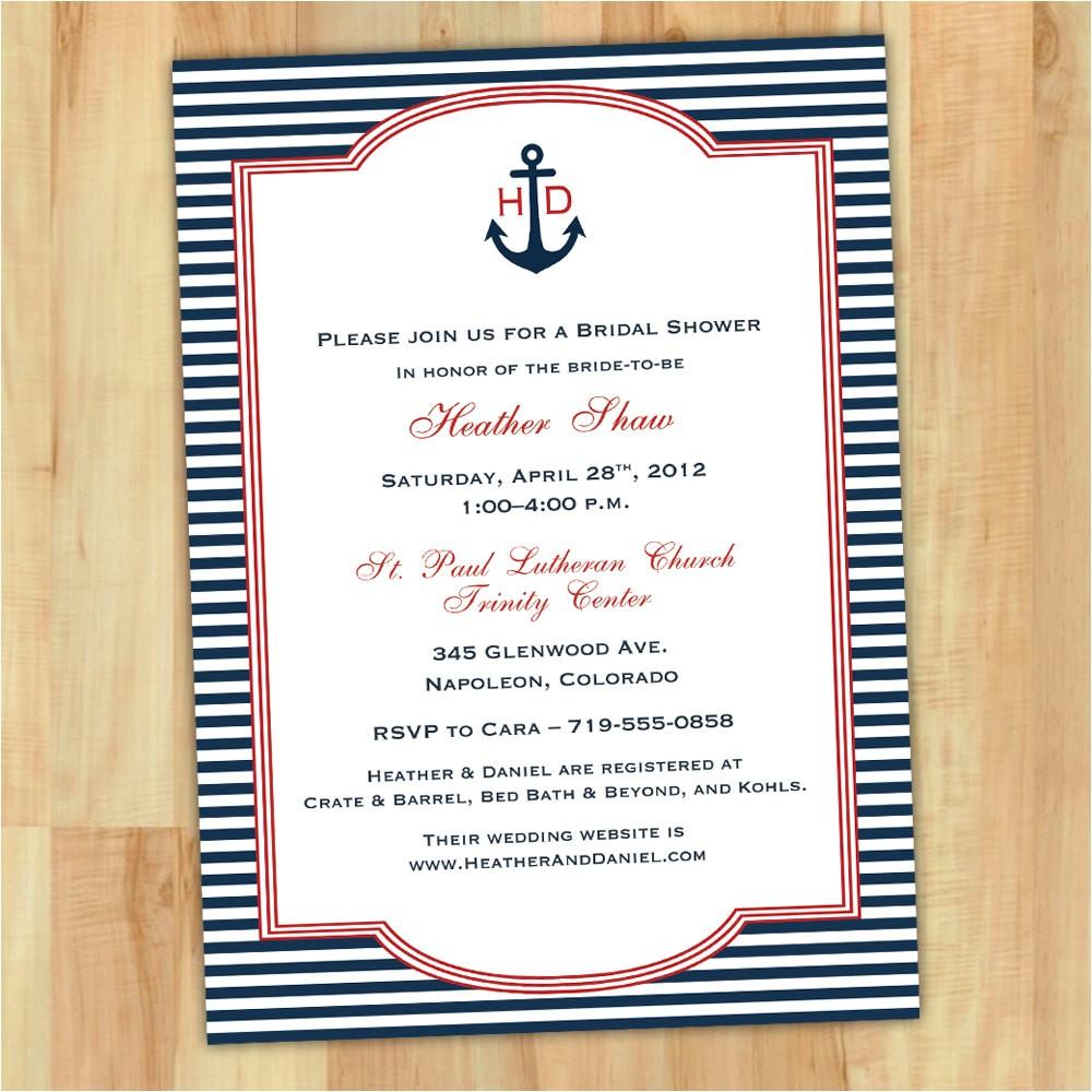 free bridal shower invitations printable nautical theme