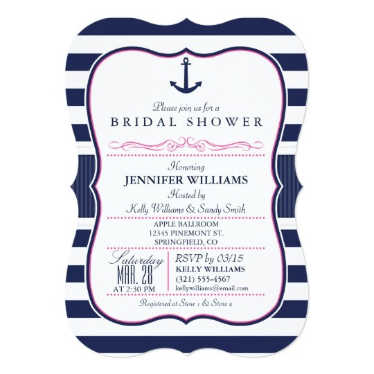 nautical anchor bridal shower navy pink card