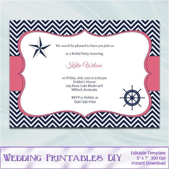 diy nautical bridal shower invitations
