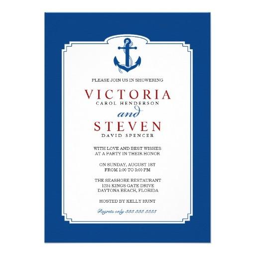 nautical couples shower invitation template