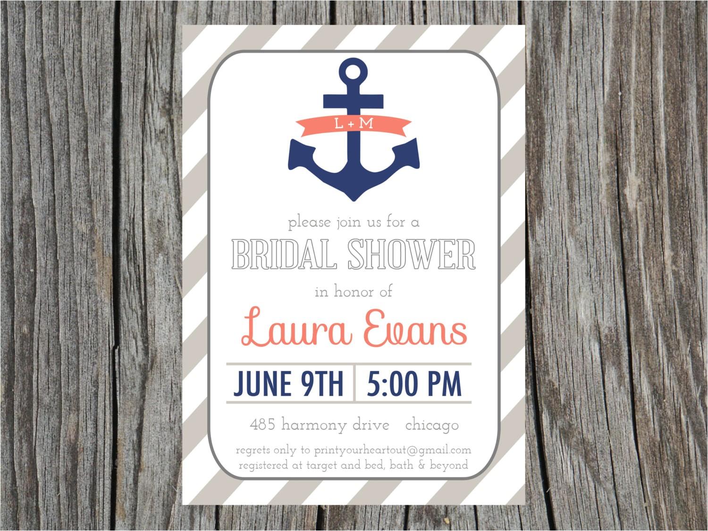 nautical bridal shower invitation anchor