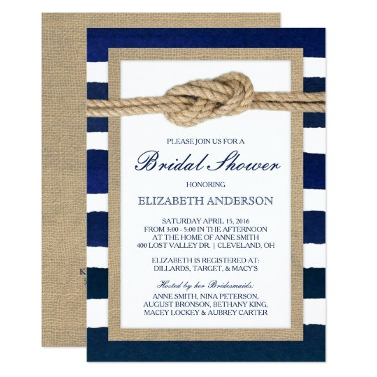 nautical knot navy stripes rustic bridal shower card