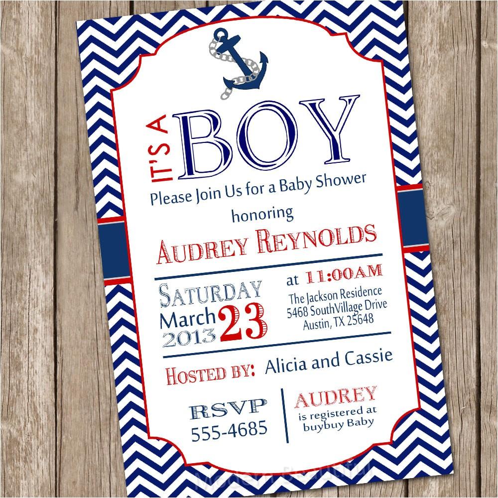chevron nautical baby shower invitation
