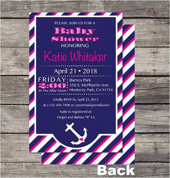 nautical girl theme baby shower invite