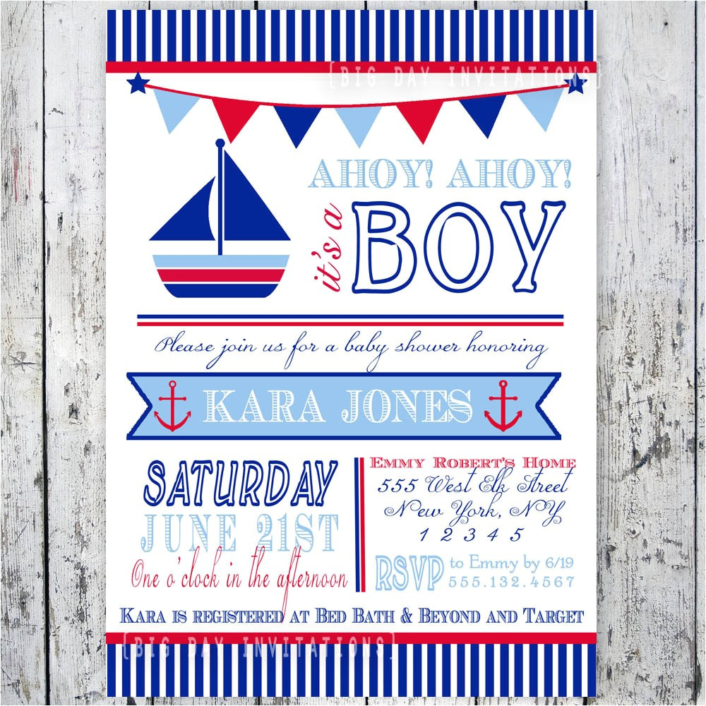 nautical theme baby shower invitations