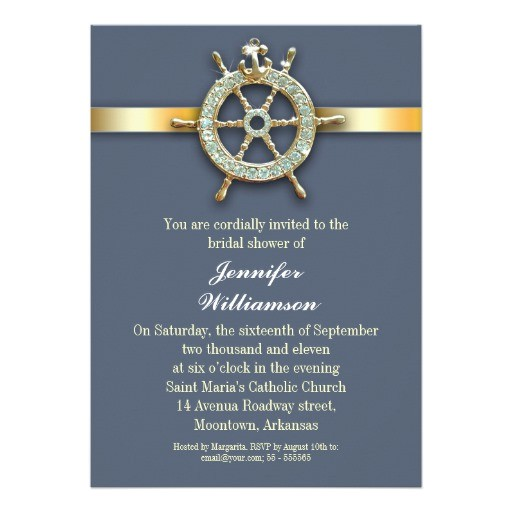 nautical blue golden bridal shower invitations